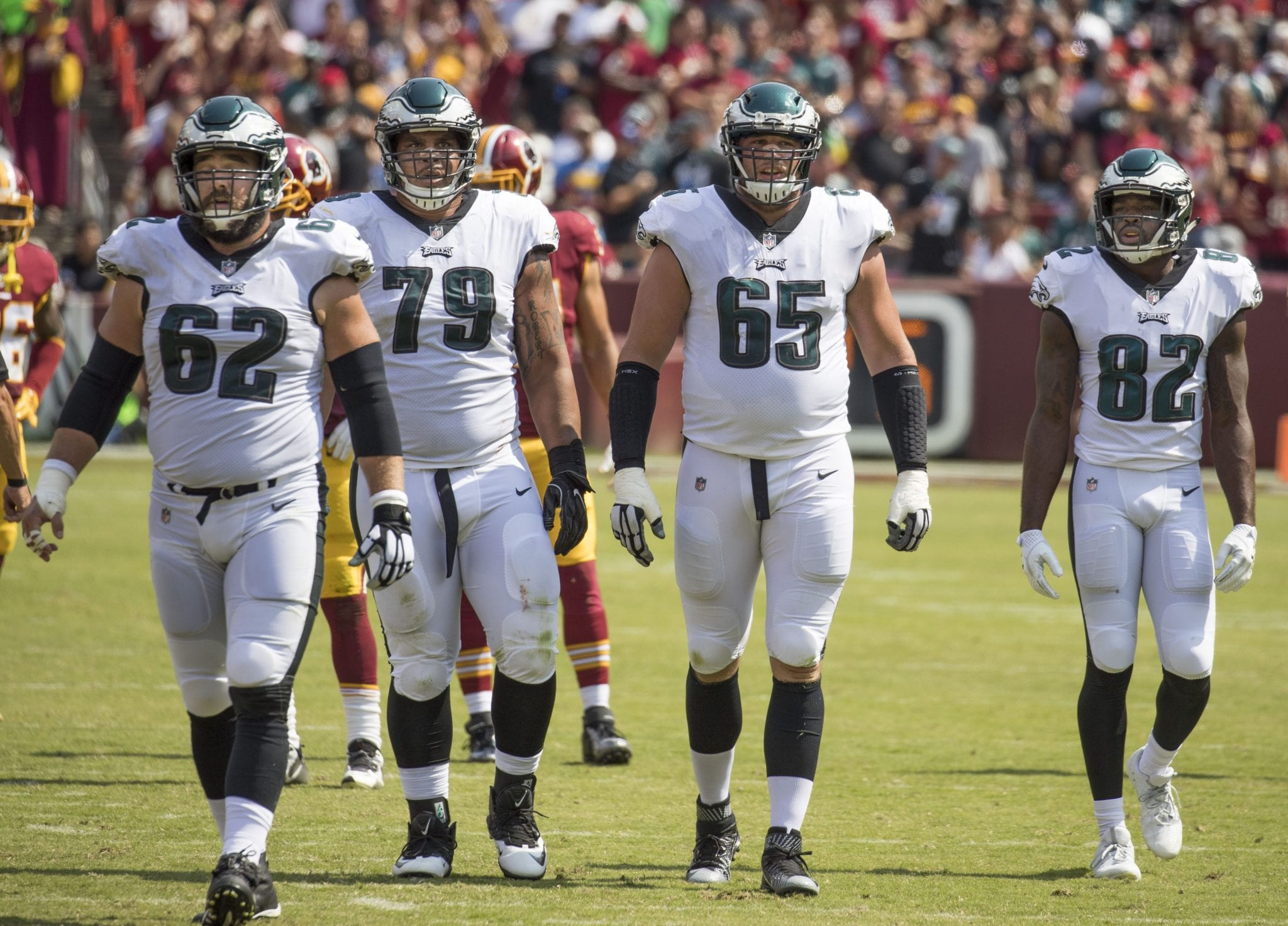 Brandon Brooks (number 79) before a game against the Washington Redskins. Photo from Wikimedia Commons.