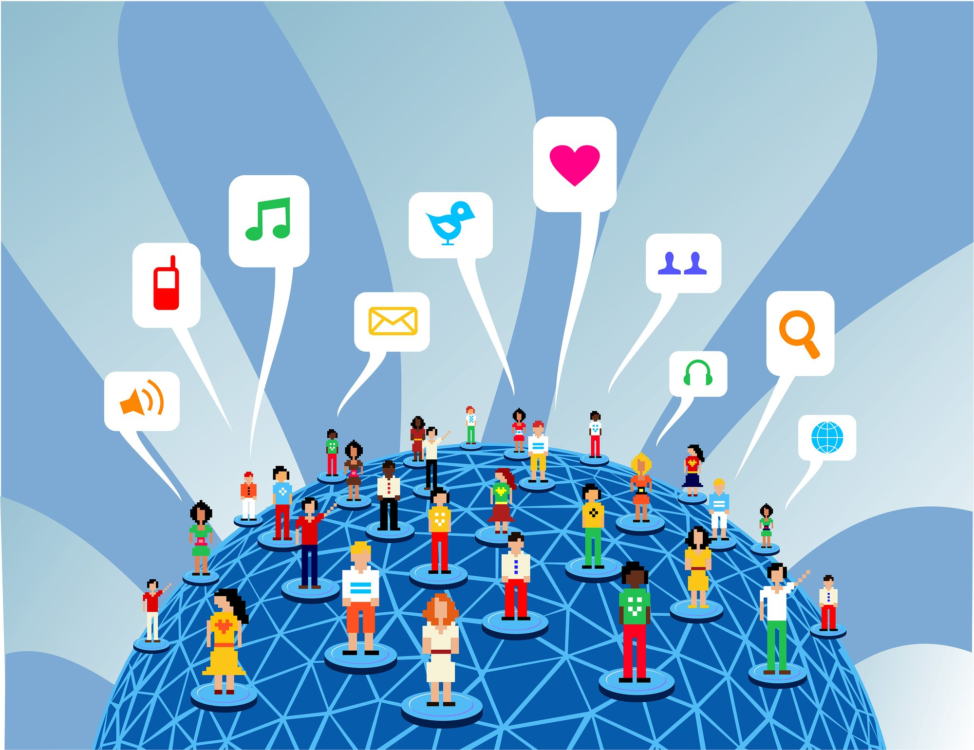 Global social media network people communication concept.