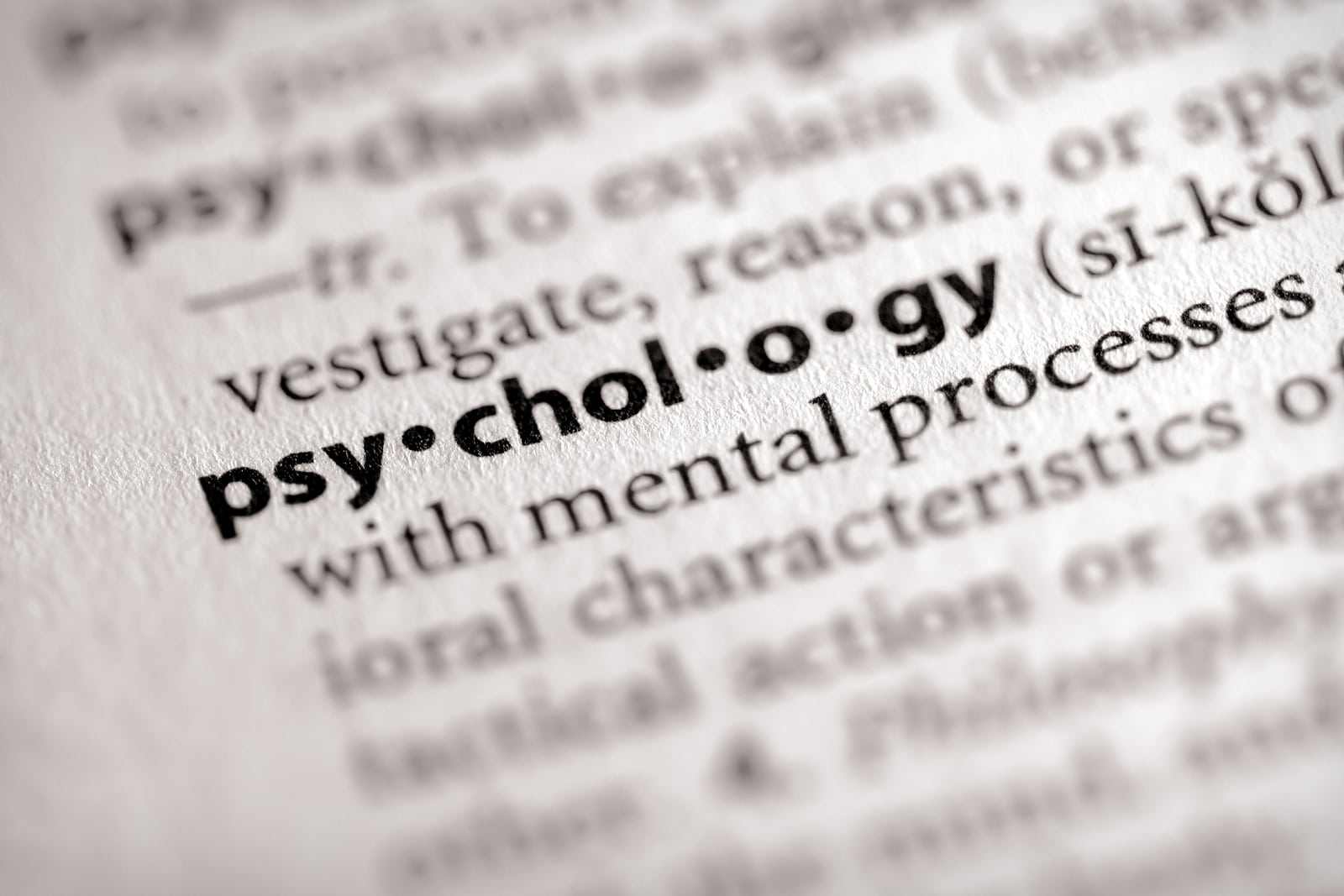"Selective focus on the word ""psychology"""