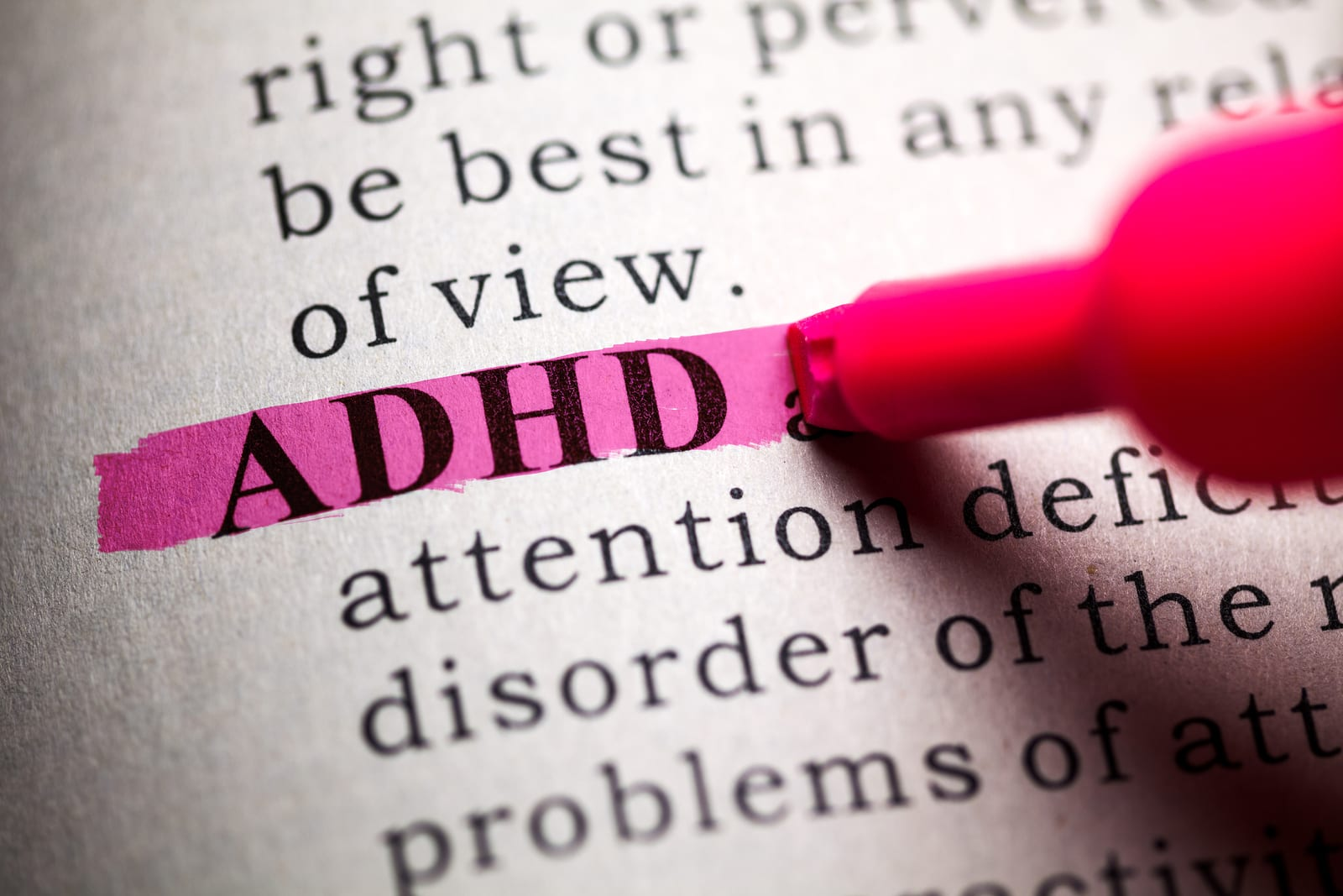 Dictionary, definition of the word ADHD.