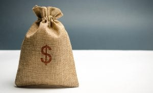 Money Bag With A Dollar Sign. Family Or Company Budget Concept.