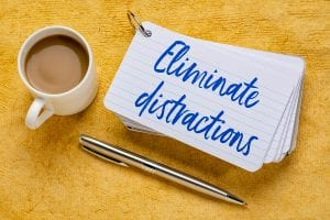 Eliminate distractions - handwriting on a stack of index cards w