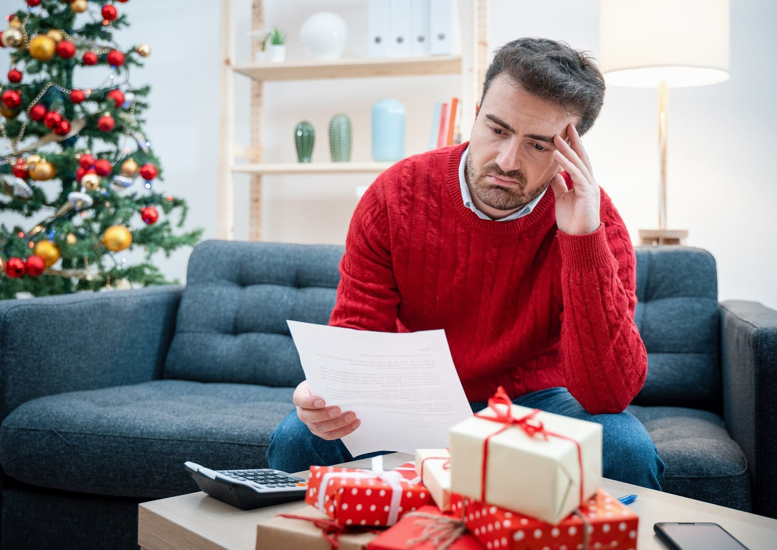man stressed during the holiday season