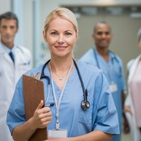 Portrait of a smiling young nurse holding clipboard at hospital. Satisfied female nurse outside operation theatre holding clipboard. Proud female doctor in scrubs looking at camera.